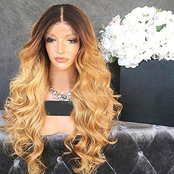 Wicca Brazilian human hair Ombre blonde Full lace wigs Dark root Loose wave Lace front wig Bleached knot Pre plucked hairline 150%density (8inch, Full Lace Wigs 150% Density)