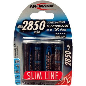 ANSMANN AA Rechargeable Batteries 2850mAh Slimline high-capacity rechargeable NiMH AA Battery for cameras etc. (4-Pack) (5035212-US)