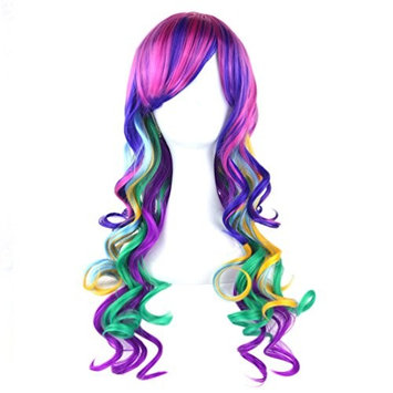Long Rainbow Wavy Curly Pastel Wig Cosplay Party Full Wigs for Women Colorful