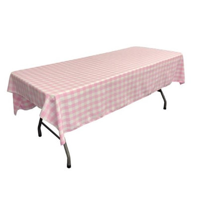 LA Linen TCcheck60x90-PinkK37 Polyester Gingham Checkered Rectangular Tablecloth White & Pink - 60 x 90 in.