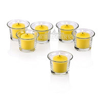 Light In The Dark Clear Glass Lip Votive Candle Holders with Yellow Votive Candles (Set of 72)
