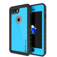 iPhone 7s Plus Waterproof Case, Punkcase [StudStar Series] [Slim Fit] [IP68 Certified] [Shockproof] [Dirtproof] [Snowproof] Armor Cover for Apple iPhone 7 Plus & 7s + [Light Blue]