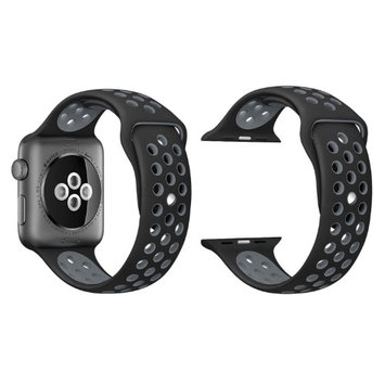 Agptek Silicone Replacement Sport Watch Band Strap for Apple iWatch Series 1 2 42mm - Black /Gray