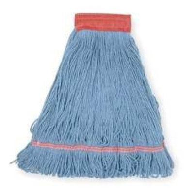 Tough Guy 1TYX9 Wet Mop, Antimicrobial, Large, Blue