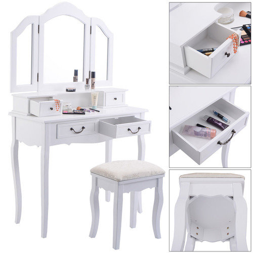 Tri Folding Mirror White Wood Vanity Set Makeup bathroom Table Dresser 4 Drawers + Stool