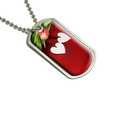 Love Romance Wedding Anniversary Hearts Flowers Military Dog Tag Luggage Keychain