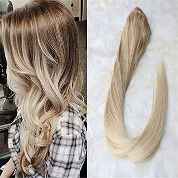 HairDancing 16inch Ombre Balyage Clip in Hair Extensions One Piece Nordic Clips Remy Human Hair Extensions Clip on Double Weft Extenions 70g per Package