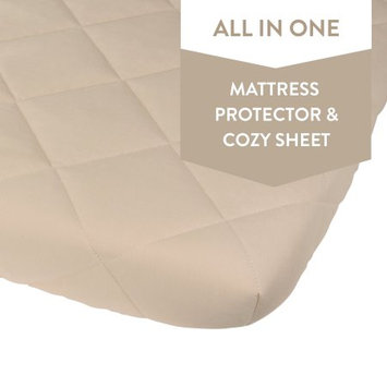 Ely's & Co Waterproof Quilted Pack n Play Sheet Mini Crib Sheet All in one Mattress Pad Cover and Sheet, Cream
