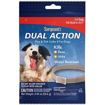 Sergeant's Pet Products 3284 1 Count Dual Action Flea & Tick Collar for Dogs, 20.5