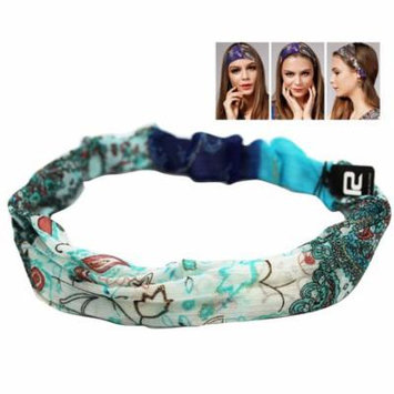 Light Blue Colored Wild Girl Headband With Floral Design