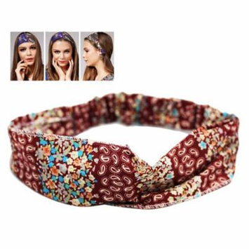 Maroon Colored Wild Girl Headband With Floral Design