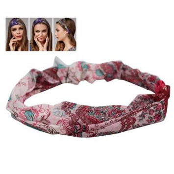 Pink Colored Wild Girl Headband With Blue and Pink Accented Floral Design