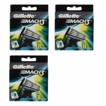 Gillette Mach3 Refill Cartridges, 8 Count (Pack of 3)