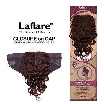 LaFlare Unprocessed Brazilian Virgin Remy Human Hair Weave Lace Part Closure On Cap Loose Deep (NATURAL COLOR) (10