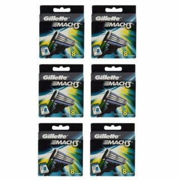 Gillette Mach3 Refill Cartridges, 8 Count (Pack of 6)