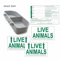 Kennel Travel Kit for Pets - Hook-On Dish & Live Animal Labels -SMALL-MED size