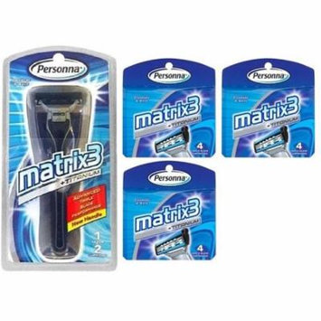 Personna Matrix3 Advanced Triple Blade Razor Handle + Matrix3 Titanium Triple Blade Refill Cartridge Blades, 4 Ct. (Pack of 3)