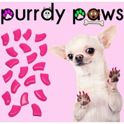 Purrdy Paws Soft Nail Caps for Dogs, 40-Pack, Lipstick Pink Small