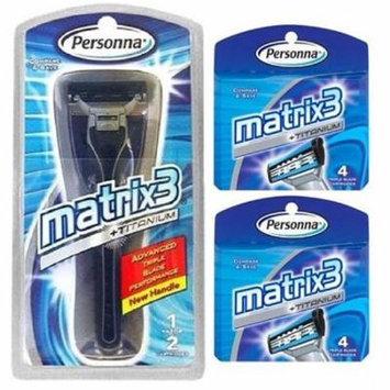 Personna Matrix3 Advanced Triple Blade Razor Handle + Matrix3 Titanium Triple Blade Refill Cartridge Blades, 4 Ct. (Pack of 2)