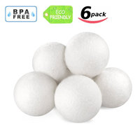 Wool Dryer Balls, Natural Fabric Softener Reusable Static Free Reduce Wrinkles Saves Drying Time Friendly Gift - 6 Pack XL