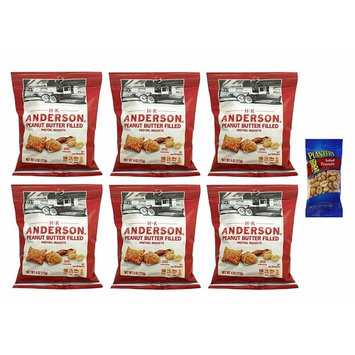 H.K. Anderson Peanut Butter Filled Pretzel Nuggets 4 oz (6 Pack) with Free Mini Planters Salted Peanuts 1 oz