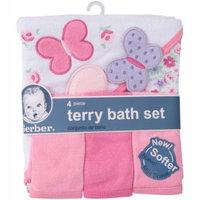 Gerber Newborn Baby Girl Towel and Washcloths Bath Gift Set, 4-Piece