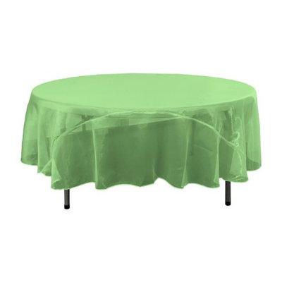 LA Linen TCOrgz90R-GreenKellyO32 Sheer Mirror Organza Round Tablecloth Green Kelly & Ivory - 90 in.