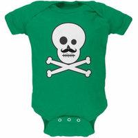 Skull and Crossbones Mustache Green Baby One Piece