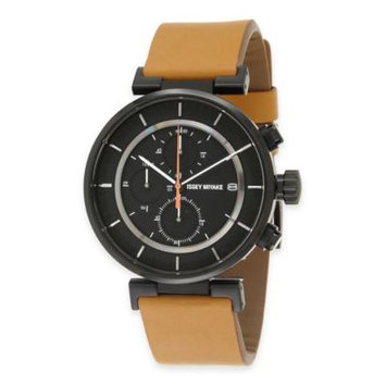 Men's Issey Miyake 'W' Chronograph Leather Strap Watch, 43mm - Tan/ Black