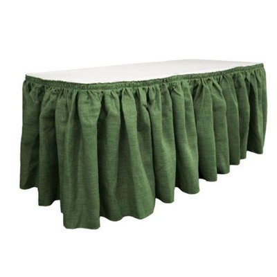 LA Linen SkirtBurlap21x29- 15Lclips-GreenHunter Burlap Table Skirt with 15 L-Clips, Hunter Green - 21 ft. x 29 in.