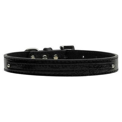 Mirage Pet Products 1001 MdBkC .38 in. 10mm Faux Croc Two Tier Collars Black Medium