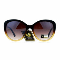 VG Eyewear Pearl Jewel Trim Diva Designer Fashion Womens Sunglasses Brown Clear