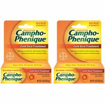 2 Pack Campho-Phenique Maximum Strength Cold Sore Treatment Gel - 0.23 oz Each