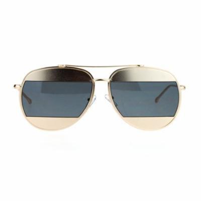 SA106 Retro Unique Cropped Blinder Lens Aviator Sunglasses Gold Black