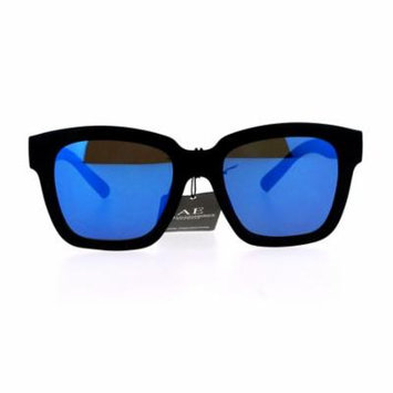 SA106 Flat Color Mirror Lens Horn Rim Hipster Sunglasses Blue
