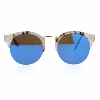 SA106 Marble Half Horned Rim Horned Round Mirror Lens Sunglasses Beige Blue
