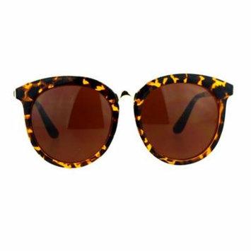 SA106 Womens Oversize Round Horn Rim Retro Sunglasses Tortoise