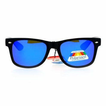 SA106 Mirrored Mirror Polarized Lens Horned Sunglasses Blue