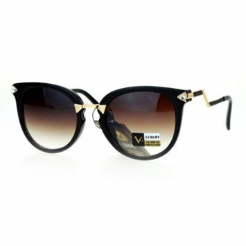 SA106 Rhinestone Bolt Arm Cat Eye Horn Rim Sunglasses Black Brown