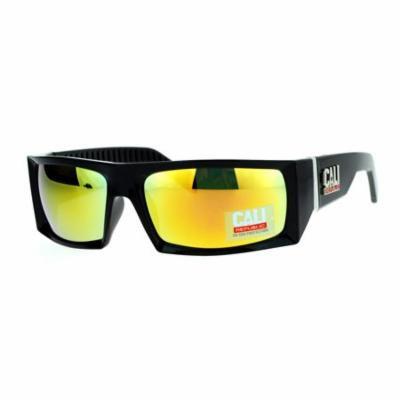 SA106 Cali Republic Mirrored Mirror Rigid Narrow Rectangular Biker Sunglasses Orange