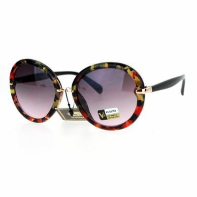 SA106 Designer Fashion Round Butterfly Oversize Sunglasses Multicolor Tortoise