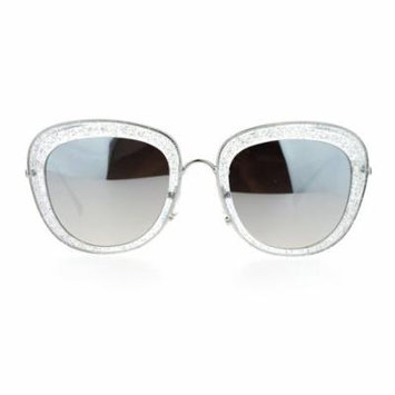 SA106 Womens Double Frame Gel Glitter Plastic Butterfly Sunglasses Clear Mirror