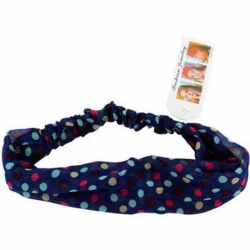 Colorful Polka Dots On Navy Blue Polka Dot Stretch Headband
