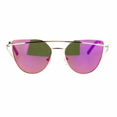 SA106 Mirrored Mirror Unique Double Wire Brow Cat Eye Sunglasses Gold Purple