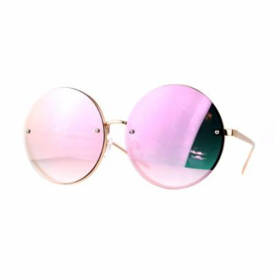 SA106 Unique Rimless Oversized Hippie Round Circle Lens Sunglasses Pink