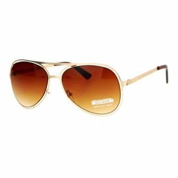 SA106 Unique Mens Futuristic Metal Aviator Sunglasses Gold Brown