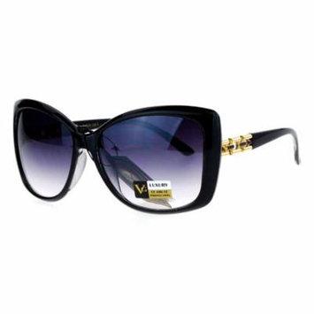 VG Eyewear Diva Jewel Chain Hinge Arm Butterfly Sunglasses Black Smoke