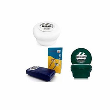 Proraso Shave Soap, Sensitive 150 ml + Proraso shaving soap menthol and eucalyptus 4oz + Shaving Factory Double Edge Safety Razor, Silver
