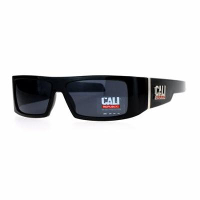 All Black Cali Republic Cholo Gangster Rigid Thick Temple Rectangular Sunglasses