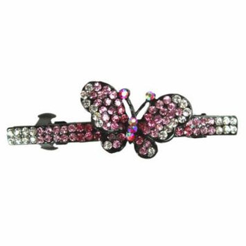 Pink Butterfly French Barrette Hair Clip